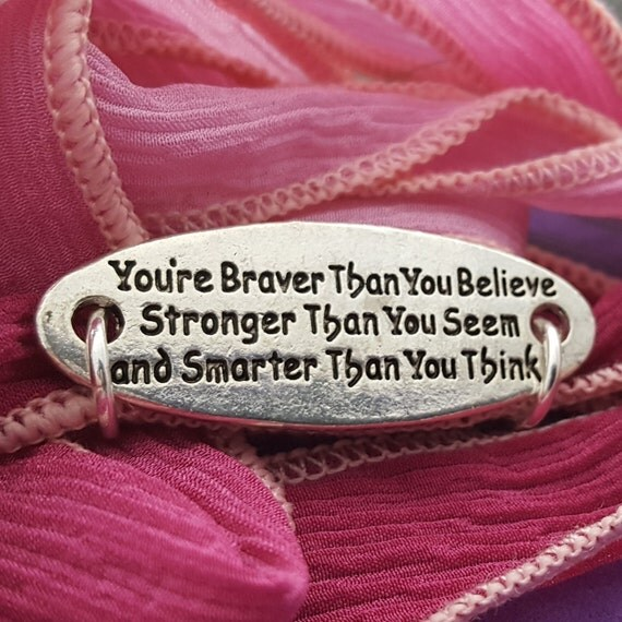 Your're Braver Than You Think Charm, Silk Ribbon Wrist Wrap, Fitness Gifts, Inspirational Quotes, Motivational Team Gifts, Sports Jewelry