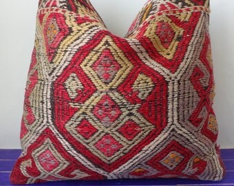 50x50cm   large kilim pillow wool red pillow cover - 213b