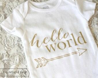 Hello World Baby Onesie - BodySuit - UniSex - Short-Sleeve - Newborn to 24 Months