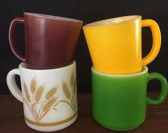 Retro Milk glass coffee mugs! Pyrex, crown ovenware, anchor hocking & federal