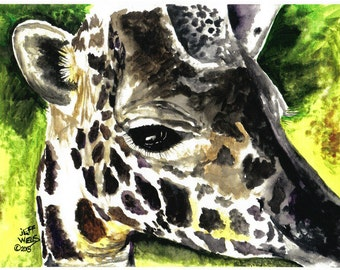 Giraffe, 11 x 16 inch watercolor print