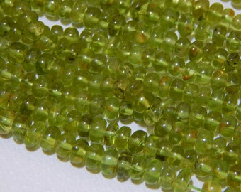 """18""""Inches Peridot Smooth Beads Rondelle Shape 4.5x7 mm Approx"""