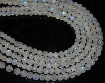 White Rainbow Moonstone Blue Fair Smooth Beads Round Shape 4x5 mm Approx  Good Quality
