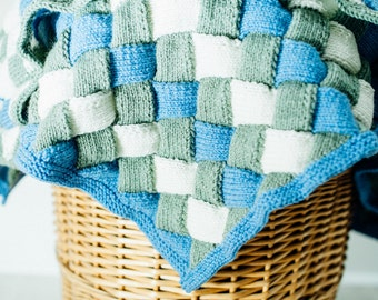 Blue, green and white entrelac blanket