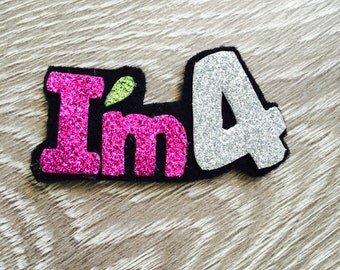Personalized Glitter How old_hair clip/ pins