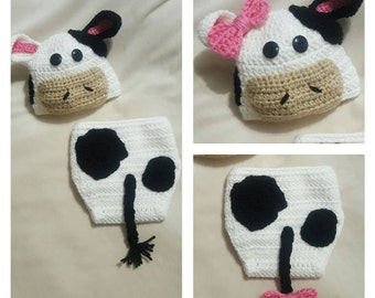 Newborn Cow diaper cover set