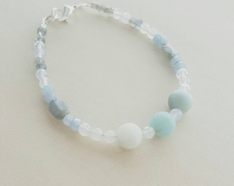 Amazonite, Blue chalcedony, Labradorite, Woman's bracelet , Beaded bracelet, bridesmaid, gift. Light blue, Aqua , Sky blue, Delicate .