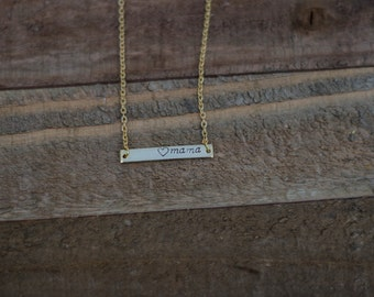 Gold bar necklace/gold filled mothers necklace/hand stamped