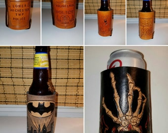 Handmade to Order Custom Leather Riveted Logo Can/Bottle Cooler..  Fully Insulated and Personalized with Hand Carved Designs and Logos.