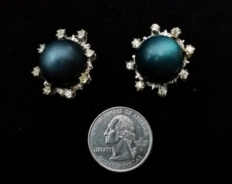 Vintage Pin Set, Blue-Green with Glass