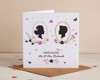 Romantic Silhouette Mr & Mrs Wedding Card