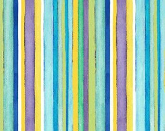 Fabric by the yard - Henry Glass - Cool Cats - Blue Stripes Fabric
