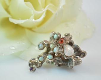 Opal Accented Artisan Organic Form Pendant Silver 38.7g Vintage Estate