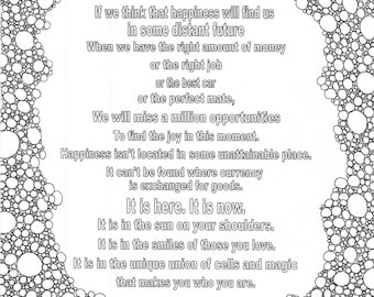 Happiness quote coloring page