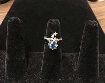 Vintage Ring, Silvertone, Clear, Blue Crystal Like