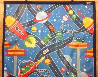 Car Mat, Space Mat Game, Kids Play Mat, Travel Roll up Mat, Navy Blue, 75 cm x 65 cm, Handmade, Eumundi Kids