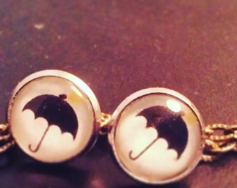"""black umbrella"" earrings"