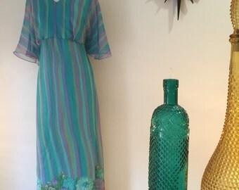 Vintage 1970s evening gown, hostess maxi dress, floral print