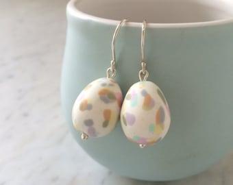 Speckled egg pastel drop earrings
