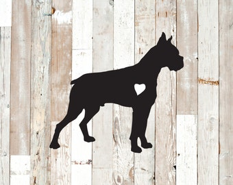 Boxer bulldog decal.  Permanent vinyl decal for cars and home decor.