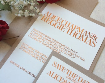 copper wedding invitation, gold foil invitation, elegent wedding invitation, modern invitation, romantic wedding invitation