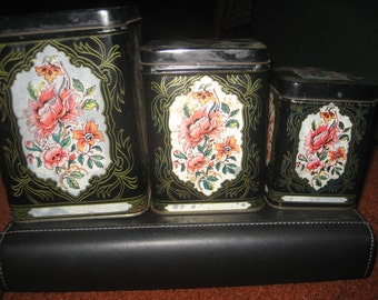 3 Vintage Black w/floral and bird pattern Tin Canister Set