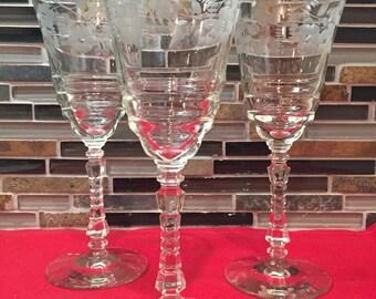 Set of 3 Floral Etched  Wine Glasses