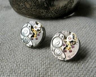 Steampunk stud earrings with mechanical watch movement Steampunk earrings Steampunk jewelry Industrial Gift idea Round earrings