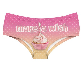 Happy Birthday panties, Make A Wish underwear, Hipster style printed novelty knickers
