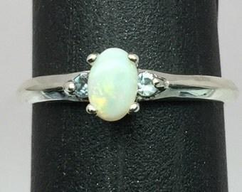 Natural Australian Opal & Aquamarine Silver Ring, FREE SIZING
