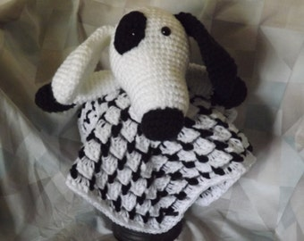 Black and White Dog Security Blanket