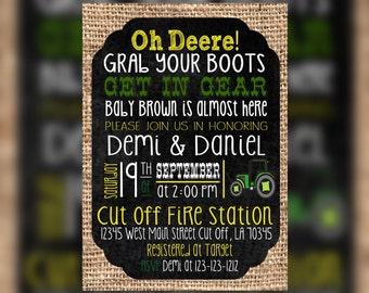 Farm Green Tractor Baby Shower invitations - Green Farm Tractor baby shower Invitation - Boy baby shower Invitation - Coed baby shower