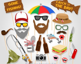 Fishing Trip Printable Photo Booth Props - Fishing Photobooth Props - Fishing Outing Photo Booth Props - Fisherman Photo Booth Props