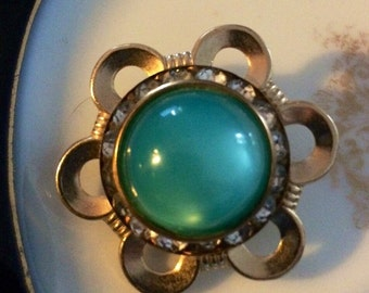 Gold Tone And Green Brooch Pin