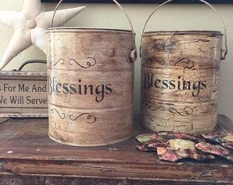 Primitive Antiqued Blessings Paint Bucket with Handle and Lid