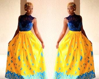 Blue fire Maxi Skirt
