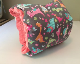 Reversible Arm Nursing/Feeding Pillow - Girl Dinosaurs with Pink Minky