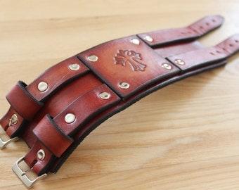 Handmade hand-tooled leather cuff / bracelet