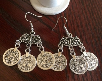 Bohemian Antique Silver Coin Earrings