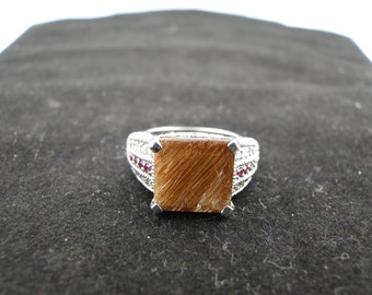 Gold Rutilated Quartz with Ruby and White Topaz Gemstone Sterling Silver Ring Size 7
