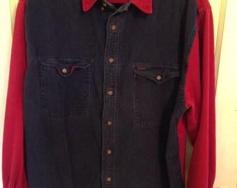 Red & Blue Vintage Creative Edge Corduroy Shirt