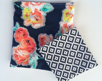 Floral and Navy with White Reusable Sandwich and Snack Bag Set