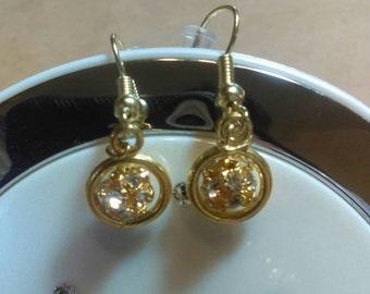 Gold Disco Ball Drop Earrings