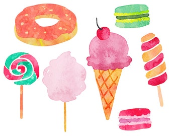 Sweets Clipart, Watercolor, Vector Sweets, Ice Cream, Donuts, Deserts Clipart, Vector Clipart - Commercial Use CU OK
