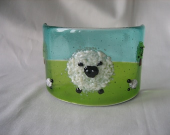 Glass Sheep freestanding Sconce
