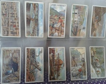 W.D.& H.O.WILLS Cigarette cards - MINING complete set of 50 from 1916. 100yrs old. Collectable cards. In plastic sleeves. Make me an offer!