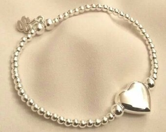 Sterling Silver 3.5mm Beaded Bracelet with Sterling Silver Puff Heart Charm