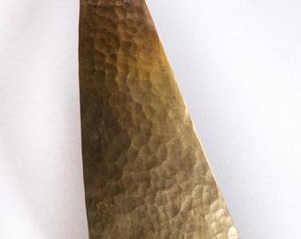 Brass Pendant, Brass Necklace, Sail Pendant, Jib Necklace, Hammered Brass