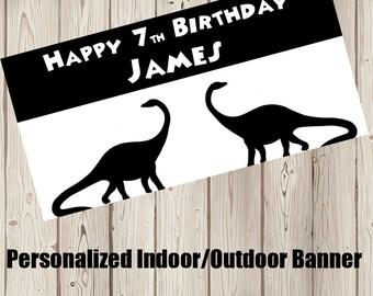 "18""x30"" Brachiosaurus Dinosaur Personalized Party Banner"