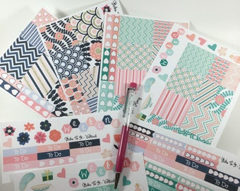Pink Navy Mint Mini Weekly Set ECLP Horz & Vert Planner Stickers Full Week Set Floral ECLP Mambi Inkwell Press Filofax KikkiK Happy Life